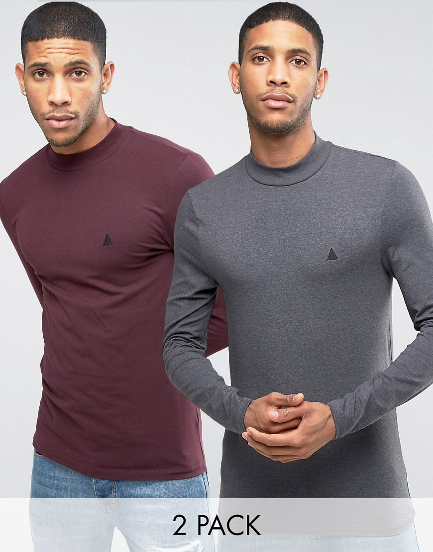 ASOS Muscle Long Sleeve T-Shirt With Turtleneck And Logo 2 Pack SAVE -