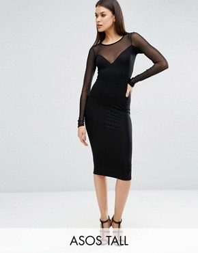 ASOS TALL Plunge Bodycon Midi Dress with Contrast Mesh
