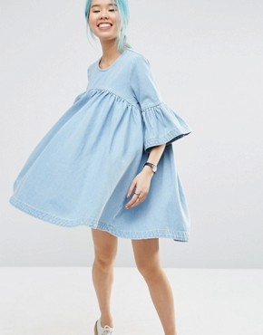 ASOS WHITE Extreme Frill Denim Dress