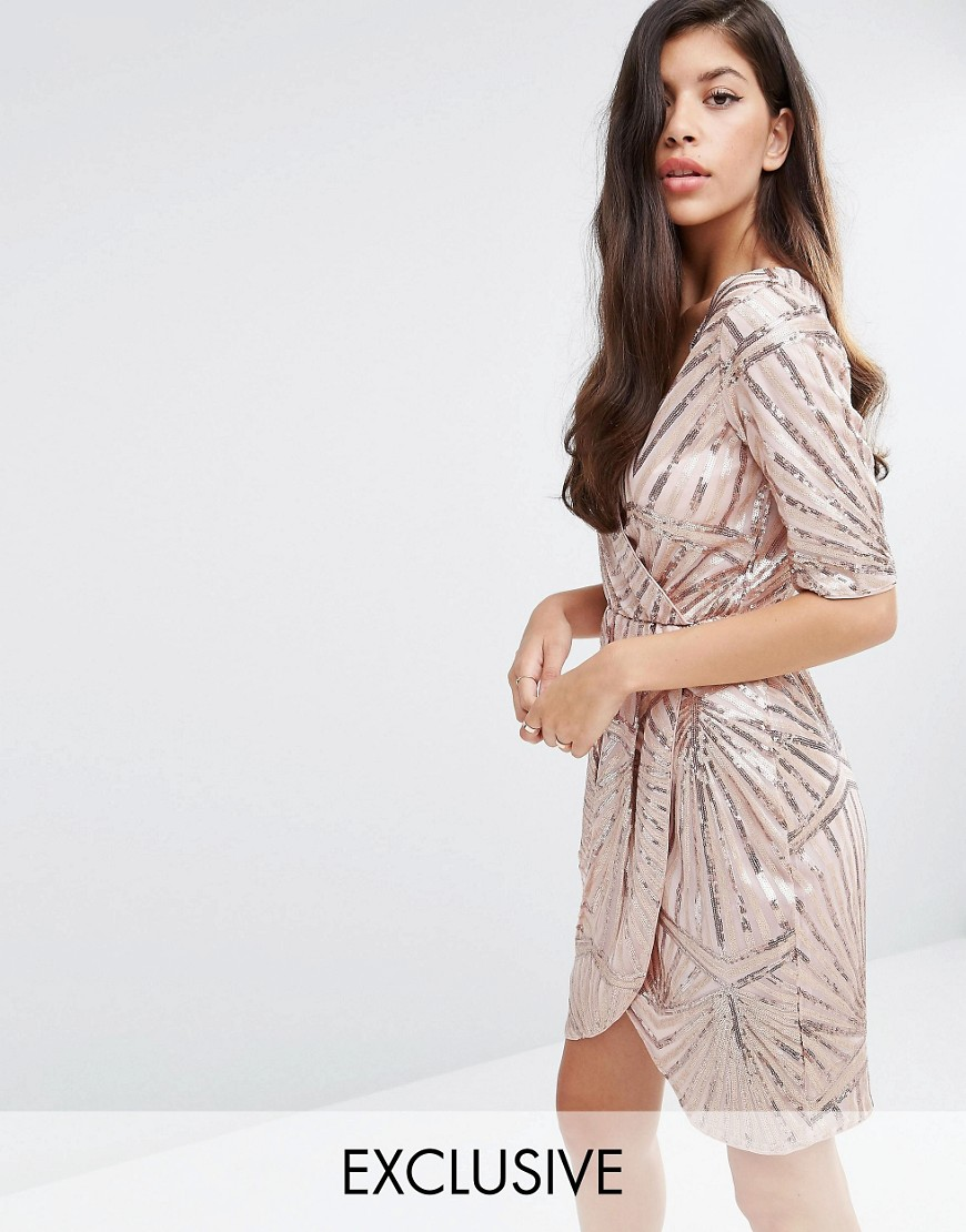 Club L Kimono Wrap Sequin Dress - Gold