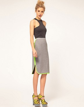 ASOS Pencil Skirt With Fluro Trim