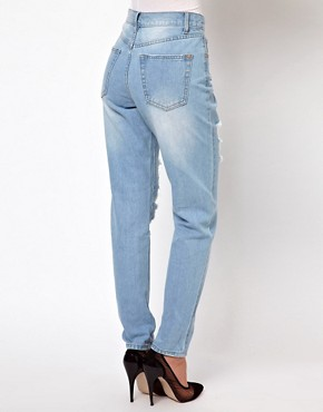 Image 2 ofGlamorous Boyfriend Jeans In Light Wash Distressed Denim