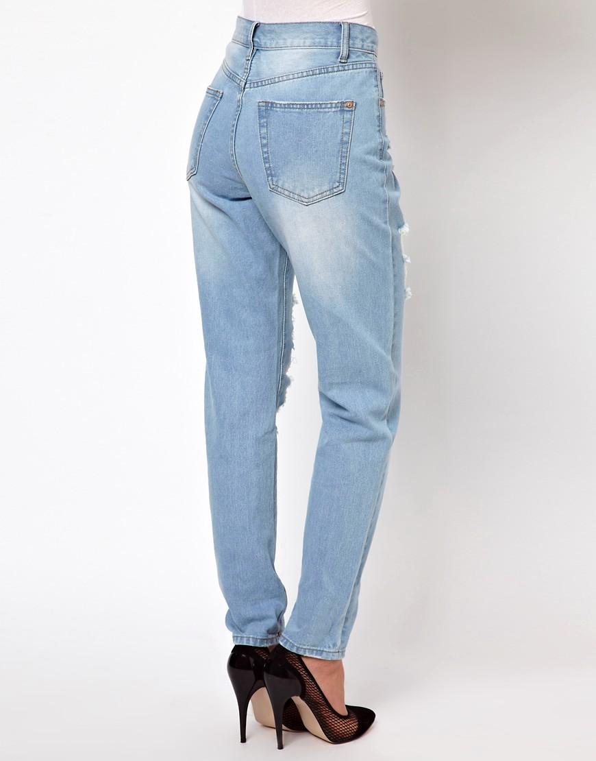 Image 2 ofGlamorous Boyfriend Jeans In Light Wash Distressed Denim