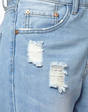 Image 3 ofGlamorous Boyfriend Jeans In Light Wash Distressed Denim