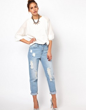 Image 4 ofGlamorous Boyfriend Jeans In Light Wash Distressed Denim