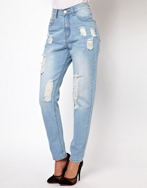 Image 1 ofGlamorous Boyfriend Jeans In Light Wash Distressed Denim