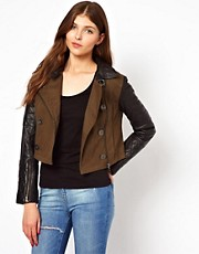 Urban Code Canvas Biker With Leather Sleeves