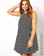 ASOS CURVE Exclusive Swing Dress In Spot Print