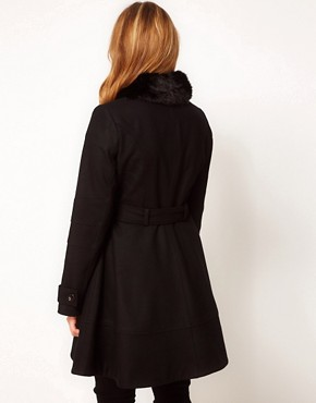 Image 2 ofASOS CURVE Fur Trim Fit &amp; Flare Coat