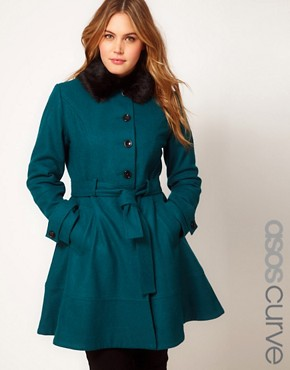 Image 1 ofASOS CURVE Fur Trim Fit &amp; Flare Coat