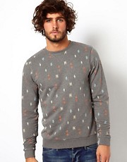 ASOS Sweatshirt With All Over Aztec Print