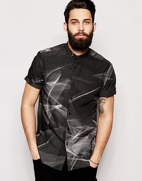 ASOS Shirt In Short Sleeve With Spirograph Print