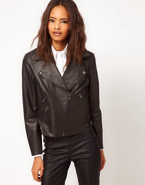 Image 1 ofASOS Ovoid Leather Biker Jacket