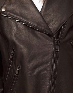 Image 3 ofASOS Ovoid Leather Biker Jacket