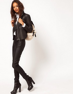 Image 4 ofASOS Ovoid Leather Biker Jacket