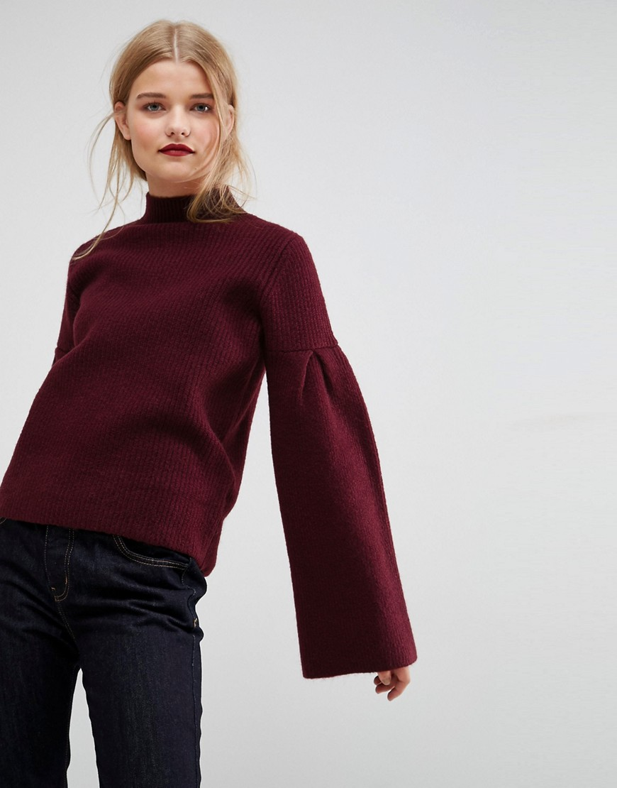 ASOS Jumper in Rib with High Neck and Flared Sleeves - Berry