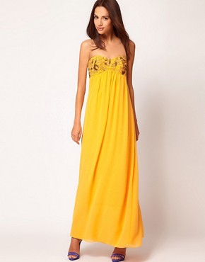 Image 4 ofTed Baker Beaded Strapless Maxi Dress