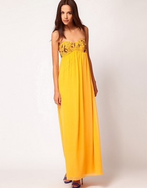 Image 1 ofTed Baker Beaded Strapless Maxi Dress
