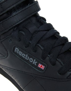 Image 2 ofReebok Freestyle Black High Top Trainers