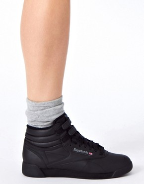 Image 3 ofReebok Freestyle Black High Top Trainers