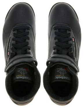 Image 4 ofReebok Freestyle Black High Top Trainers