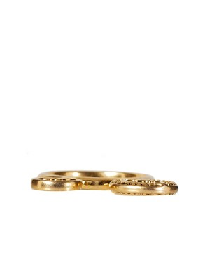 Image 2 ofHouse Of Harlow 14ct Gold Plated Stack Coin Ring