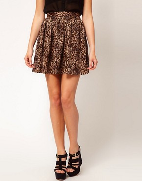 Image 4 ofGlamorous Leopard Skater Skirt