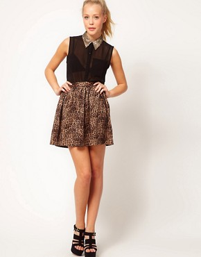Image 1 ofGlamorous Leopard Skater Skirt