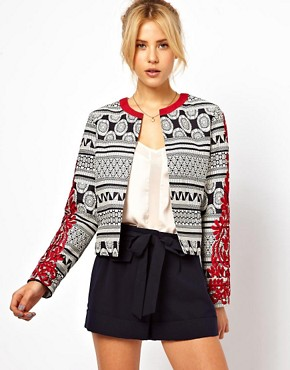 Image 1 ofASOS Statement Jacket with Embroidered Sleeves
