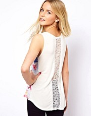 A Wear Mirror Print Top With Lace Back