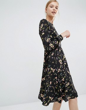 Paisie Knee Length Smock Dress In Floral
