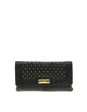 Image 1 of River Island Black Studded Simple Leather Clutch