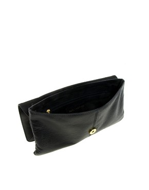 Image 2 of River Island Black Studded Simple Leather Clutch