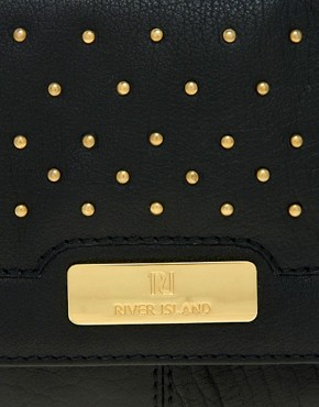 Image 4 of River Island Black Studded Simple Leather Clutch