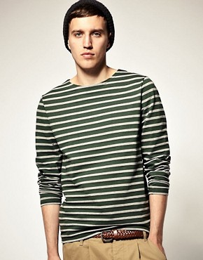 Image 1 ofASOS Stripe Heavyweight Long Sleeve Top