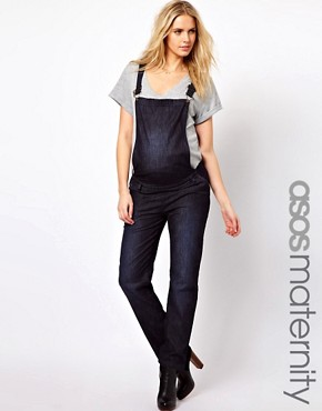 Image 1 ofASOS Maternity Soft Denim Dungarees