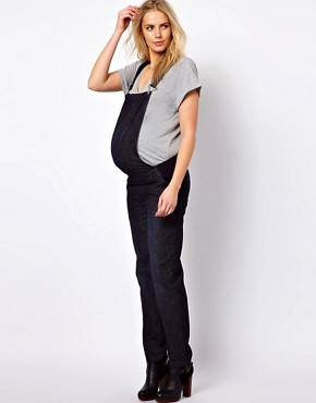 Image 4 ofASOS Maternity Soft Denim Dungarees