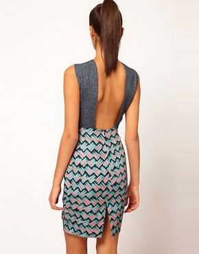 Image 2 ofAqua Milly Mixed Print Cross Front Dress