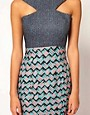 Image 3 ofAqua Milly Mixed Print Cross Front Dress