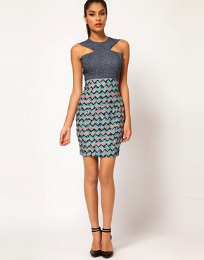 Image 4 ofAqua Milly Mixed Print Cross Front Dress