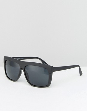 Pieces Flat Top Sunglasses in Black