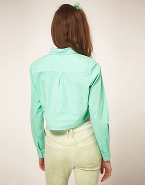 Image 2 ofASOS Cropped Tie Front Denim Shirt in Mint Green