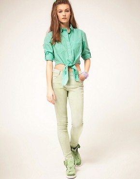 Image 4 ofASOS Cropped Tie Front Denim Shirt in Mint Green