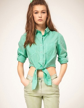 Image 1 ofASOS Cropped Tie Front Denim Shirt in Mint Green