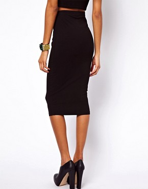 Image 2 of ASOS Pencil Skirt in Longer Length