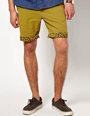 Suit Chino Shorts with Leopard Turn