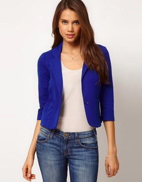 Image 1 ofASOS Cropped Blazer In Ponte