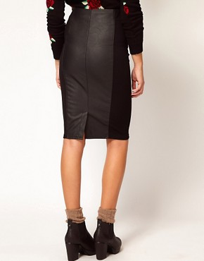 Image 2 ofRiver Island Leather Look Panel Pencil Skirt