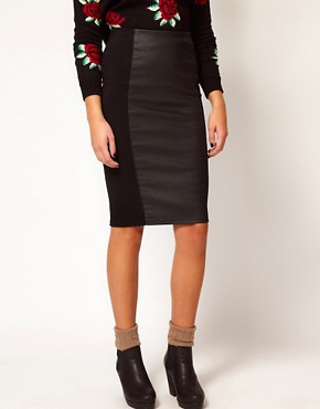 Image 4 ofRiver Island Leather Look Panel Pencil Skirt