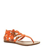 London Rebel Flat Sandal with Buckle Straps